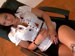 Big titted leggy office babe Nanny in mini skirt