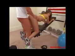Guy fucks sexy young brunette in gym