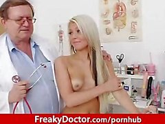 Aged cunt doctor checks hot blonde Venus Devil