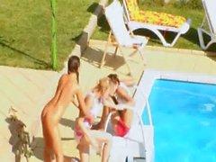 Three teenies secret fucking by the pool