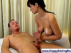 Sexy masseur riding her clients cock