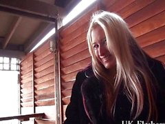 Blonde English babe Kaz B in voyeur public