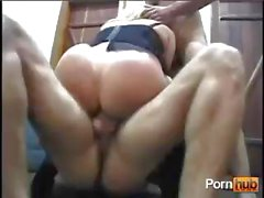 Banging blonde babe gets drilled in all her holes by two dicks