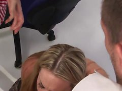Bubbly blondes suck guys dick during shopping