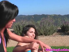 Pussylicking yoga lesbian toyed till squirt