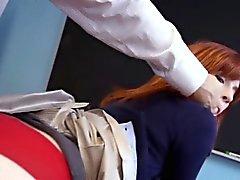 Redhead college teen cum