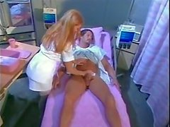 Busty brunette nurse has sex with hunky patient