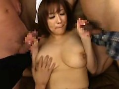 Hairy asian cunt and couch fingering