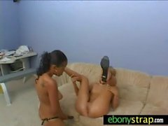 Interracial Lesbians Fuck With a Strapon 20