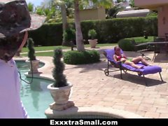 ExxxtraSmall Petite Teen Teases Spanish Pool Boy