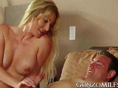 Dick loving blonde MILF Jennifer Best getting slammed by fat