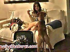 Lesbian pizza party with hot oil massage