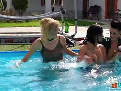 Edgy Babes Thrown In Pool
