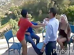 Four swingers in a hot foursome orgy where they swap partners