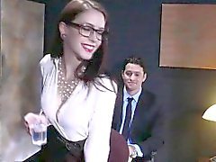 Anna de Ville ass fucked by a big cock in an office