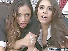 CFNM brunette maids spoiling dude