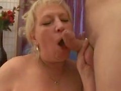Chubby mature with saggy tits gets fucked