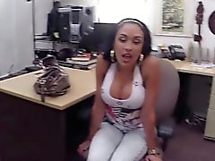 Latina flaunts huge tits for cash