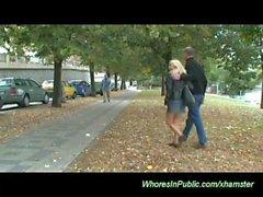 horny couple fucks in public