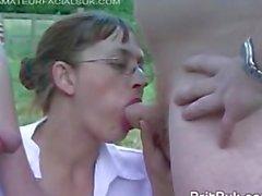 Two British Milfs in Stockings Taking Facials, Bukkake Party Outdoors!