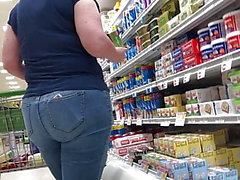 Plumb white butt in jeans