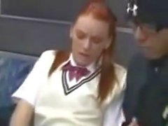 Teen groped and creampied on a train