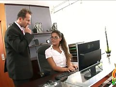 Francesca was busted by her boss when he came in the office