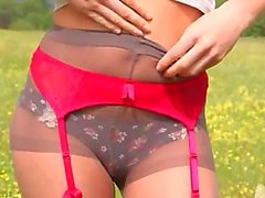 smart striptease outdoor by the forest