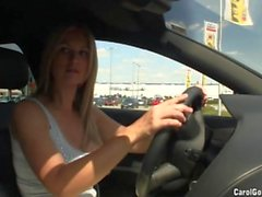 Busty Carol Goldnerova drives around
