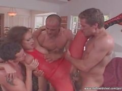 Hardcore gangbang action with hot brunette MILF