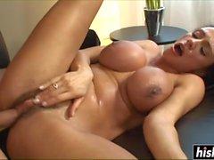 Brunette babe makes a friend cum