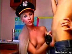 Amateur policewoman punished in the ass