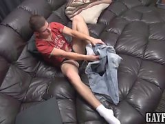 Twink Jacob tugging on his long foreskin and sucking himself