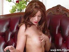 Leggy brunette Tracy Rose strips off vintage lingerie masturbates in beige nylons garter mules