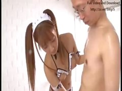 Japanese maid lubed and banged