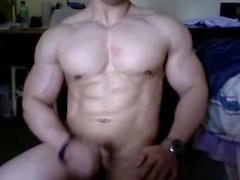 Enorme di Asian Bodybuilder posing Cums e Flex cam in diretta