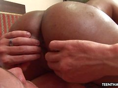 Oiled up and tanned Asian slut straddles her mans