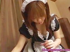Cute maid Yui Asahin sucks cock part1