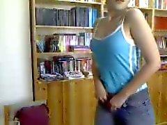 Turkish girl on webcam with bottle