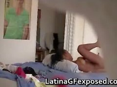 Hidden cam films naked latin teen after part4