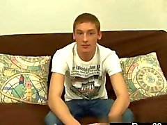 Newbie twink strips and gets interviewed