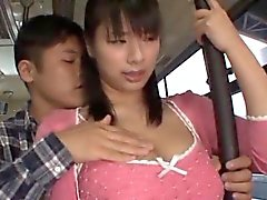Hana Haruna busty sucks shlong in bus