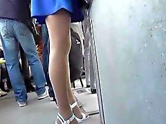 Upskirt on Girl In Blue