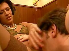 Brunette plays with cum