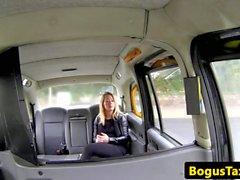 Inked brit taxi babe arsefucked on backseat