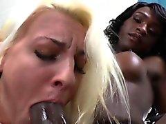 Balck pussyloving tgirl dick pleasured