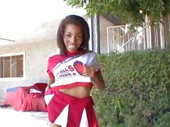 See this ebony cheerleader get her face jizzed