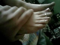 Rubbing aunts sexy feet