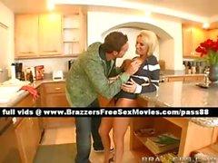 Mature blonde slut on the kitchen table