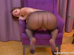 Hot teen Ellen Betsy masturbates her lovely pussy in sheer black nylon pantyhose